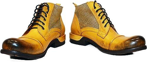 Modello Buecello - Cuero Italiano Hecho A Mano Hombre Piel Color amarillo botas Bajas Botines - Cuero Cuero Pintado a Mano - Encaje