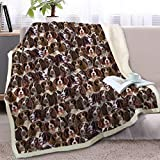 BlessLiving Fuzzy Dog Blanket for Kids Adults Puppy Lovey Fleece Blanket Reversible Animal Pattern Sherpa Throw (English Springer Spaniel, 50 x 60 Inches)