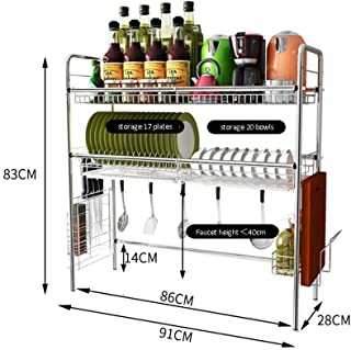 KOSGK Kitchen Spice Rack Dish Drainer Rack, with Large Storage Cutlery Holder Removable Dish Rack Tray Cup Glass Holder for Kitchen Sink (Size : 91 28 83cm)