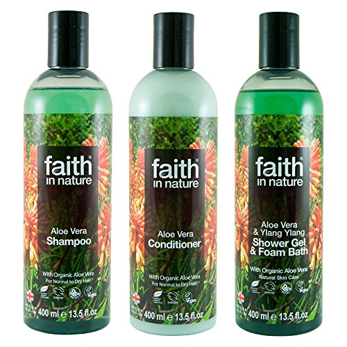 Faith In Nature Natural Aloe Vera Shampoo, Conditioner & Body Wash Trio   Vegan   Cruelty Free   99% Natural Fragrance   Free From SLS or Parabens