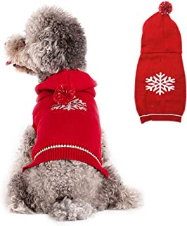 kyeese Dog Sweaters Reflective Pattern with Leash Hole Dog Hoodie Sweater Pullover Knitwear Warm Pet Sweater Cat Sweater