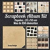 Scrapbook Album Kit: Papeles - 20 x 20 cm Mas de 150 elementos