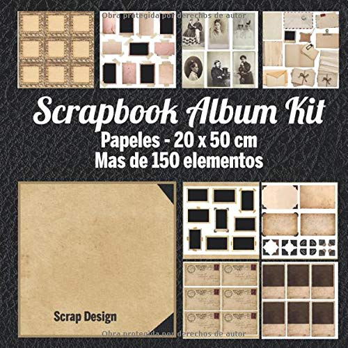 Scrapbook Album Kit: Papeles - 20 x 20 cm Mas de 150 elementos (Spanish Edition)