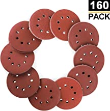Coceca 160pcs Orbital Sandpaper Sanding Discs 5 Inches 8 Hole Hook and Loop, 20pcs Each..