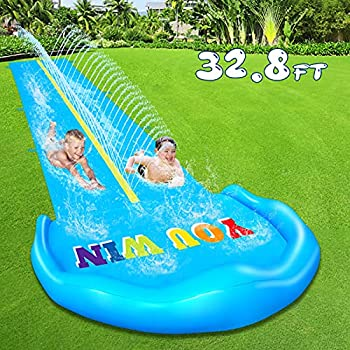 Evoio Lawn Water Slide 32.8FT Inflatable Splash Water Slides with 2 Racing Lanes and 2 Body Boards for Kids Boys Girls Adults Outdoor Summer Water Toys for Backyard Garden Lawn