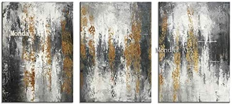 WMZYBYCJL High quality 3 Panel set Hand Painted Modern Abstract Oil Painting Wall Art Painting Home Decoration Picture For Kitchen Living 50x75cmx3p Frameless