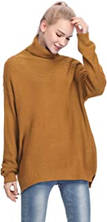 MYSHOW Womens Casual Sweaters Turtleneck Long Sleeve Chunky Knit Pullover Sweater