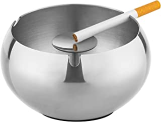 OILP Cigarette Ashtray Outdoor,Stainless Steel Unbreakable Ashtrays for Cigarettes,Large Ashtray Windproof with Non-Slip Mat,Drum Shape (Silver)