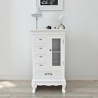 FZYHFA Armoire avec 5 tiroirs et 2 étagères en MDF + Bois de pin 53 x 30,5 x 95,5cm (L x l x H) Blanc Meubles de Rangement
