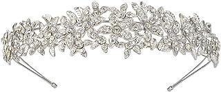 EVER FAITH Banda para el pelo con diseño de flores de cristal austriaco, transparente