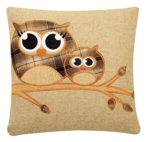 TWO OWLS COFFEE TARTAN EMBROIDERED BUTTON WOOL BLEND 18' CUSHION COVER *HTL*