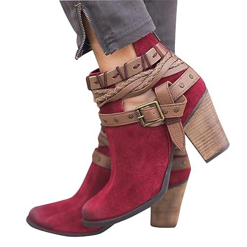 b26af42b83ea6 Poplover Women s Faux Suede Back Zipper Ankle Boots Mid Block Heels Shoes