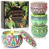 Juego de regalo de velas perfumadas, 4 latas hechas de cera de soja 100% natural con aceites esenciales para aliviar el estrés, 4 fragancias para uso en aromaterapia, baño, yoga.