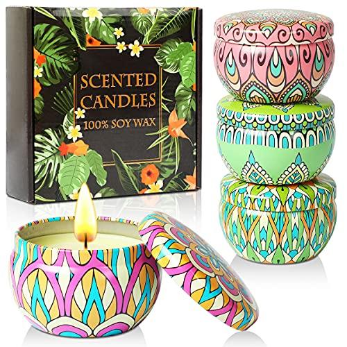Juego de regalo de velas perfumadas, 4 latas hechas de cera de...