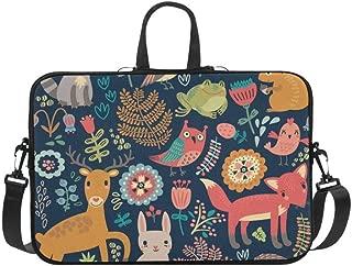 Cartoon Forest Animals Deer Rabbit Owl Fox Plants Pattern Briefcase Laptop Bag Messenger Shoulder Work Bag Crossbody Handbag for Business Travelling