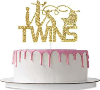 It's Twins Cake Topper with Baby Carriage, Baby Shower, Gender Reveal Party Decoration Supplies, Welcome Baby, Pregnancy Announcement, Double Sided Gold Glitter