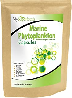 Marine Phytoplankton Capsules (180 x 500mg), MySuperFoods, The Purest Food on Earth, Cultivated from The Deep Sea, Rich in Micronutrients, Add to Juices, Smoothies, Shakes