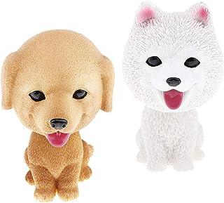 simhoa 2 Pieces Resin Bobble Head Dog Figurine Toy Home/Car Dashboard Decor