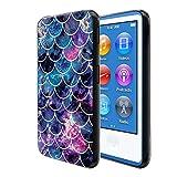 FINCIBO Case Compatible with Apple iPod Nano 7, Flexible TPU Black Silicone Soft Gel Skin Protector Cover Case for iPod Nano 7 (7th Generation) - Mosaic Mermaid Scale
