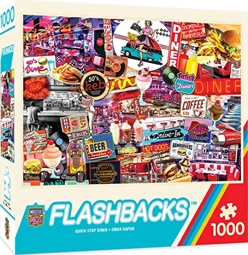 MasterPieces Flashbacks Jigsaw Puzzle, Quick Stop Diner, 1000Piece -  71948