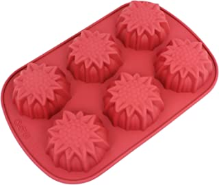 Freshware Silicone Mold, Soap Mold for Pudding, Muffin, Cupcake, Cheesecake and Soap, Sun Flower, 6-Cavity