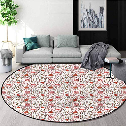 Buy RUGSMAT Jacobean Area Rugs Ring 3D Non-Slip Rug,Floral Pattern with Lines Protect Floors While S...