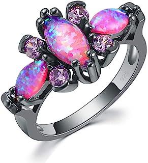 مجوهرات للنساء من CiNily Pink Fire Opal أحجار كريمة سوداء مطلية بالذهب مقاس 5-12