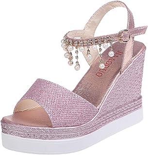 IMJONO Sandales Compensees Femme Mode Boucle Perle Strass Bohême Sandales Talon Haut Cristal Chaussures Décontractées Sand...