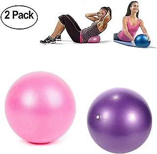 TopBine - Pelota de pilates (2 piezas) para yoga, barra, entrenamiento y terapia física, mejora el equilibrio, fuerza de núcleo, dolor de espalda y postura, viene con paja inflable