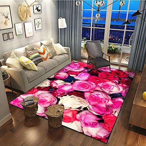 Alfombra De Impresión De Rosas Retro Simple A La Moda Alfombra Gruesa Impermeable Antideslizante Alfombrilla De Porche Adecuada para Dormitorio Pasillo Sala De Estar