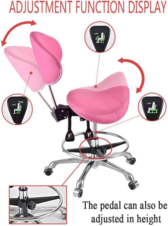 SXRDZ Tabouret Selle Roulant Chaise de Travail avec Dossier et Repose-Pieds réglable Tabouret pivotant sur Roues Salon de beauté Spa Massage Home Office, Rose (Color : Black) Black