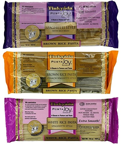 Tinkyada Gluten-Free Rice Spaghetti 3 Flavor Variety Bundle, 1 Each: Brown Rice, Brown Rice Spinach, White Rice (12-16 Ounces)
