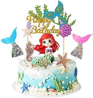 QIMMU kuchendeko Tiere Geburtstag,lefant Zebra Giraffe Krokodil Mermaid Meerjungfrau Kuchen Topper,Geburtstag Kuchen Topper,Topper für Sea Party