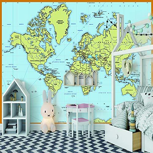 Hd Wallpaper Weltkarte 3D Tv Tapetenwandbilder 3D Seelandschaft Fernseher Einstellung Wandtapete.200X140Cm (Breite X Höhe)