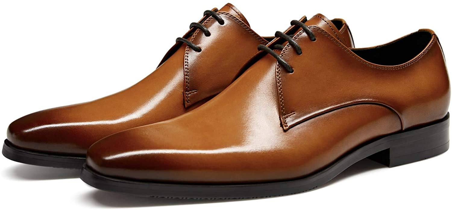 FRASOICUS Men's Dress Shoes Genuine Leather Lace Up Classic Oxford Office Shoes for Men