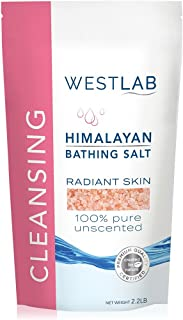 Westlab Pure, Unscented Himalayan Salts. Fine Grain. (1 x 2.2lb resealable bag) for Cleansing, Detoxification and Skincare.100% Pure and Certified mineral content.