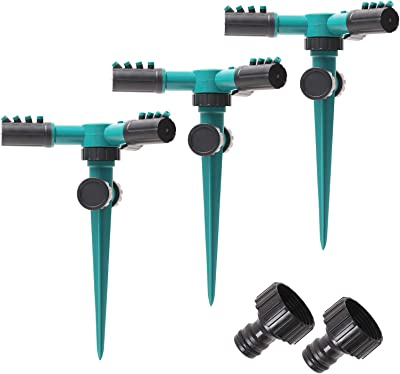 HritHcoxi Lawn Rotating Sprinkler, 3pcs 360 Degree Automatic Rotating Garden Sprinklers Adjustable 3 Arms Yard Watering Sprinklers Sprayer Irrigation System for Garden, Lawns and Yards