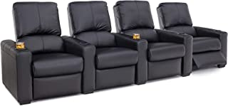 Heritage Compass - Home Theater Seating - Pushback Recliner - Leather Gel - Cup Holders - Black - Row of 4