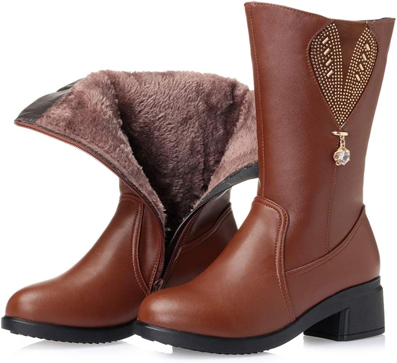 T -JULY Woherrar Winter skor med Platform kvinnor Winter Winter Winter stövlar Genuine läder Natural Wool Mid Calf stövlar  hitta din favorit här
