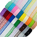 20 Rolls 200 Yards Mixed Color Floral Pattern Fabric Lace Ribbon