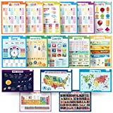 merka Educational Posters - School Set - 16 Large Posters - USA and World Map, Presidents, Human Body, Solar...
