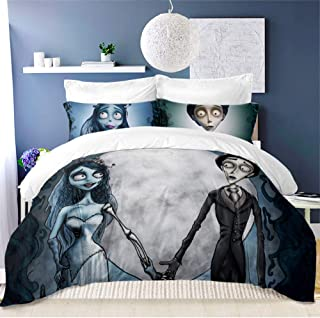 ARL HOME Halloween Couple Duvet Cover 3PC Twin Size Cartoon Movie Corpse Bride Theme Wedding Decor Couple Bedding Cartoon Couple Quilt Cover(2 Pillow Case)