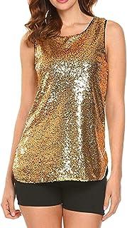 pujingge Womens Sleeveless T Shirt Sexy Sequin Tank Tops Slim Basic Shirt