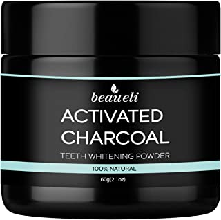 Beaueli Activated Charcoal Teeth Whitening Powder (2.1 Oz) Natural Black Tooth Whitener Coconut Charcoal Toothpaste Powder...