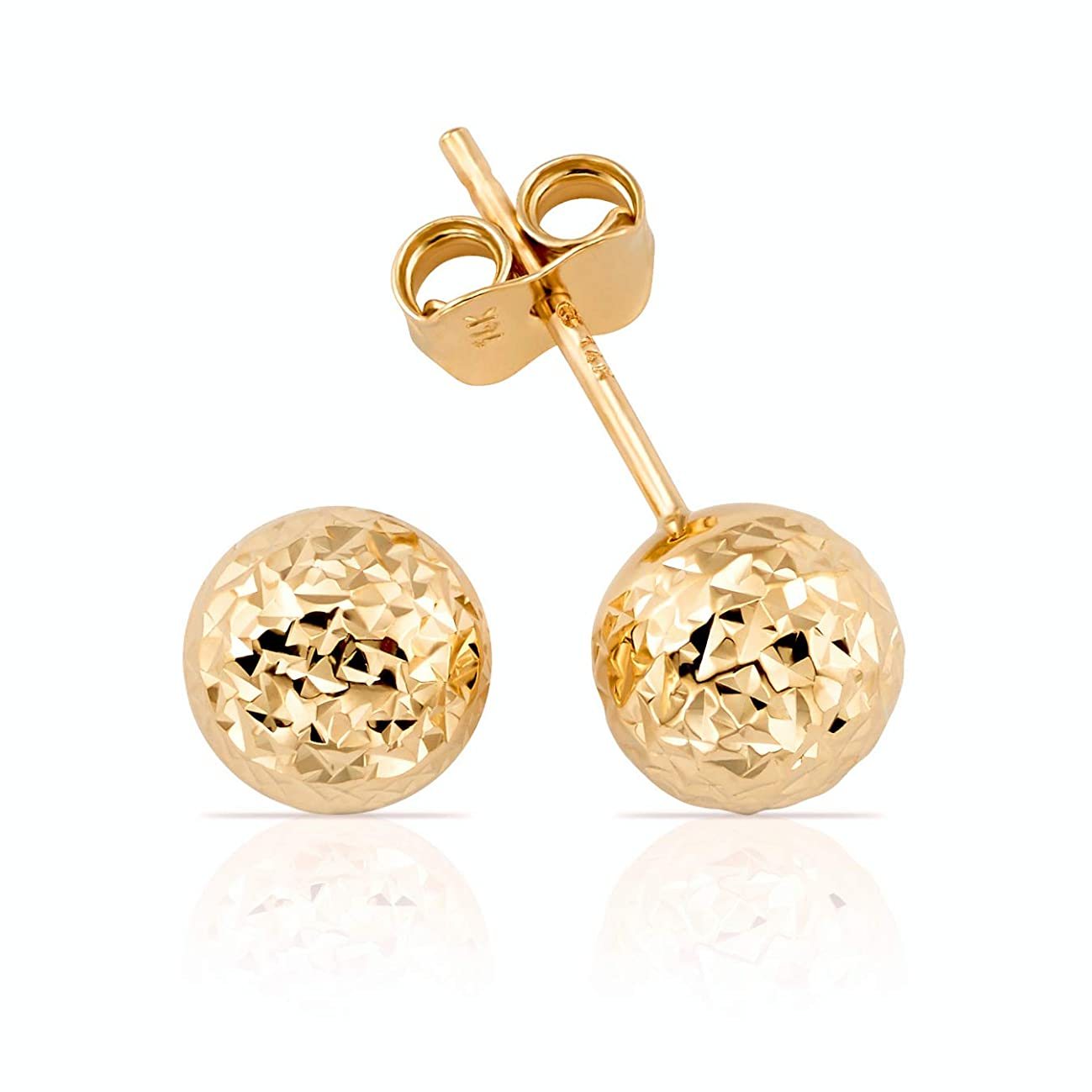 Solid 14K Gold Hammered Finish Ball Stud Earrings for Women and Girls