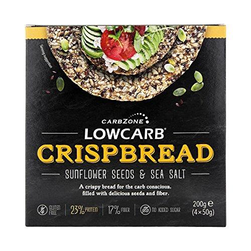 CarbZone Kohlenhydratarmes Brot von Sonnenblumenkerne und Meersalz, 1er Pack (1 x 200 g) - Glutenfrei - Keto & Diabetikerfreundlich