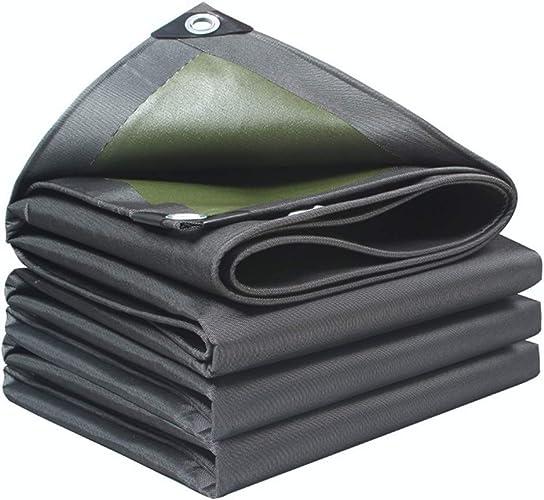 ZQ Bache imperméable noir vert résistante, Toile Anti-Corrosion écran Solaire, Convient aux couvertures de camions, Voitures, tentes, Bateaux ou piscines-10X12M