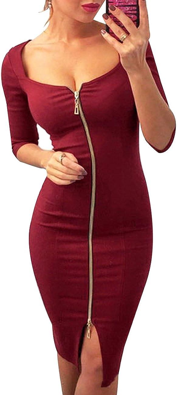 OMZIN Womens Bodycon Dress Short Sleeve Party Dress Slim Fit Clubwear Zipper Split Dress