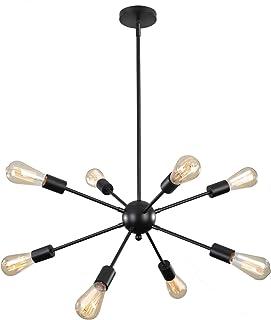 ENCOFT Sputnik Lámpara Colgante con 8 Luz en Metal Base E27 Moderno Iluminación Colgante Lámparas de Araña para Sala de Estar Dormitorio Cocina, Negro Sin Bombilla