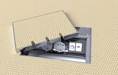 Einbausteckdose, Fußbodendose, Bodensteckdose Edelstahl V2A 2 Steckdosen + 2 Anschluss
